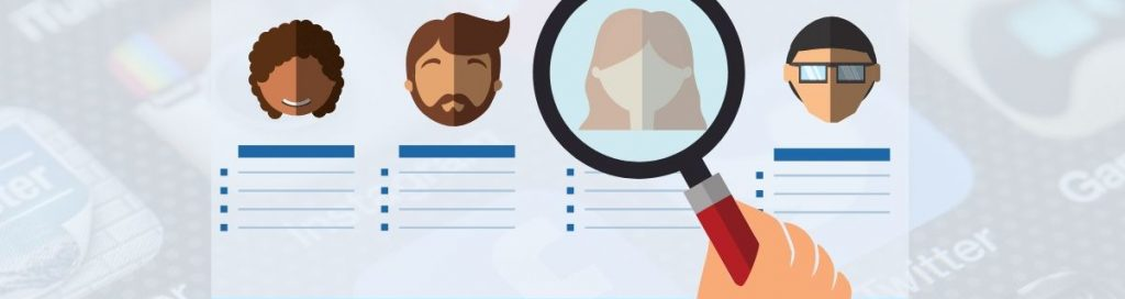 Graphic of a magnifying glass being used to locate candidates on social media