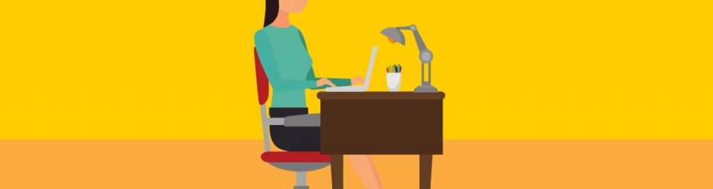 lady working at desk at home